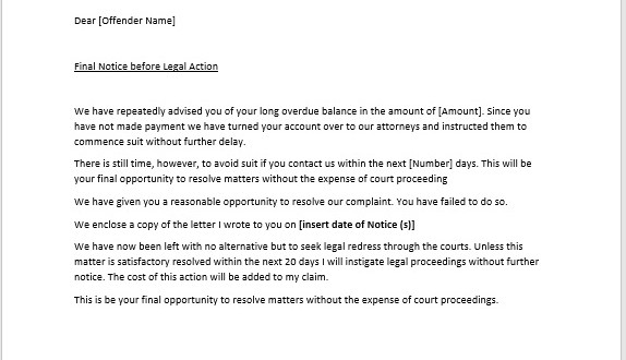 Legal Action Notice Template – Microsoft Word Templates