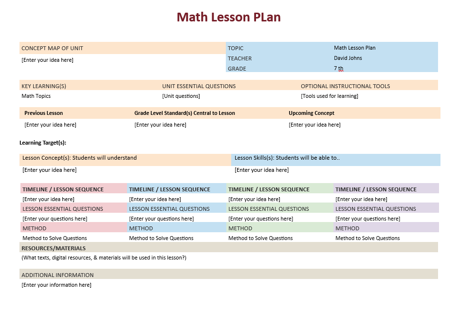 Math Lesson Plan Template Microsoft Word Templates