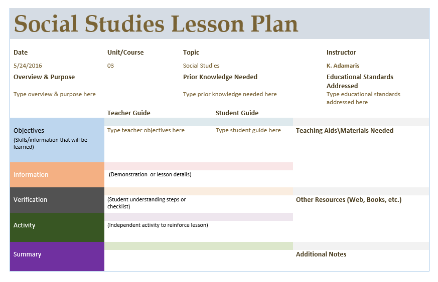 Social Studies Lesson Plan Template – Microsoft Word Templates