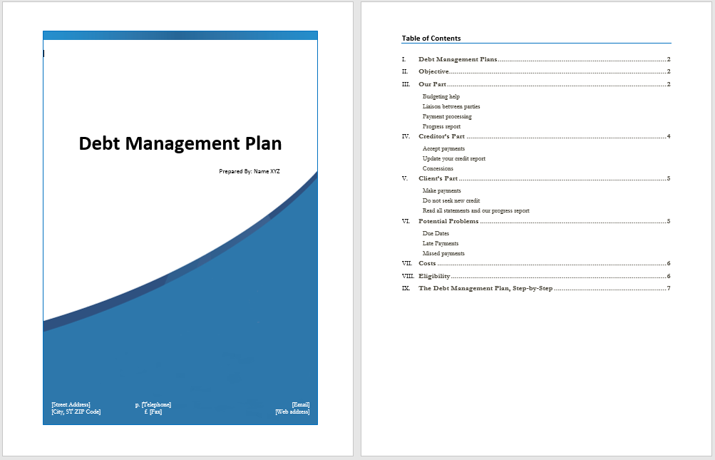 debt management plan template microsoft word templates