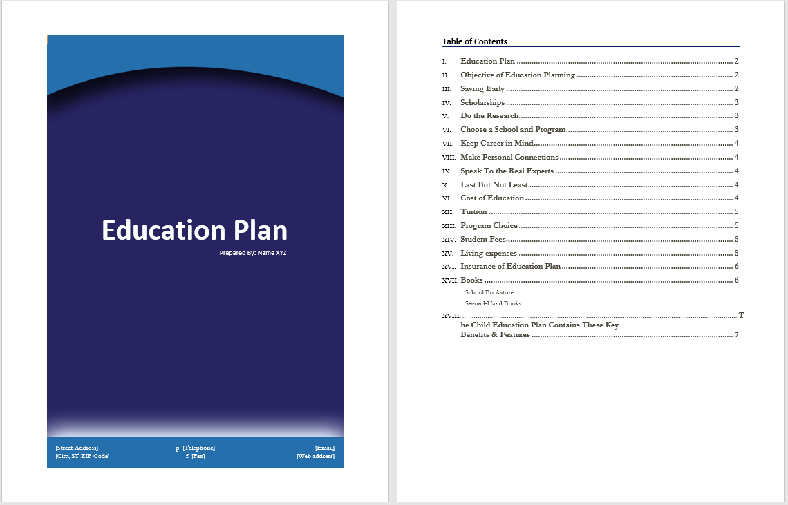 Education plan template microsoft word templates for Educational development plan template
