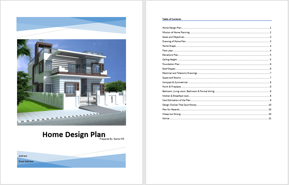 Home Design Plan Template