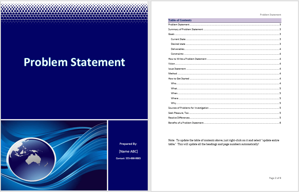 Doc 585594 Problem Statement Template Sample Problem