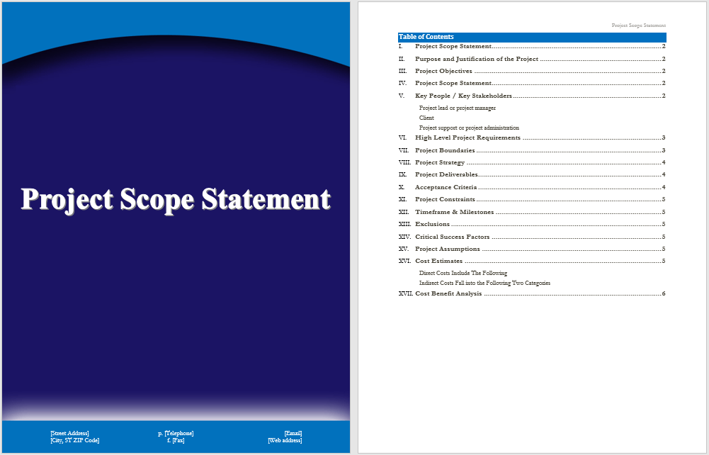 Project Scope Statement Template – Microsoft Word Templates