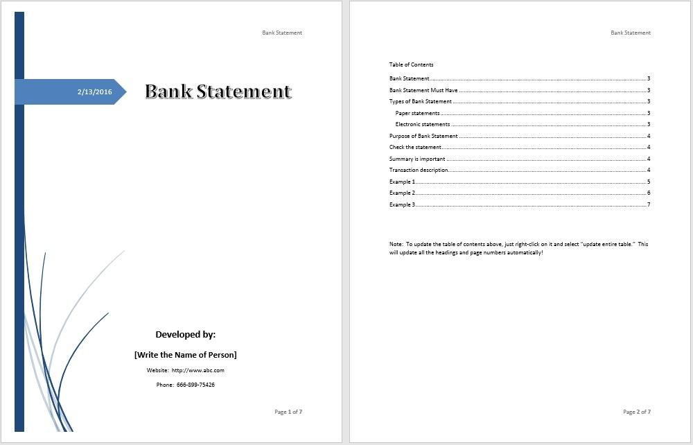 Bank Statement Template – Microsoft Word Templates