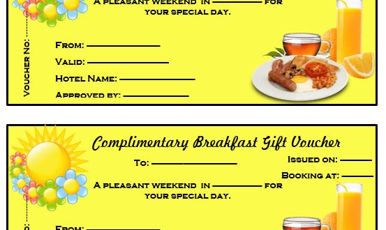 Complimentary Breakfast Gift Voucher Template Microsoft Word – Meal Voucher Template