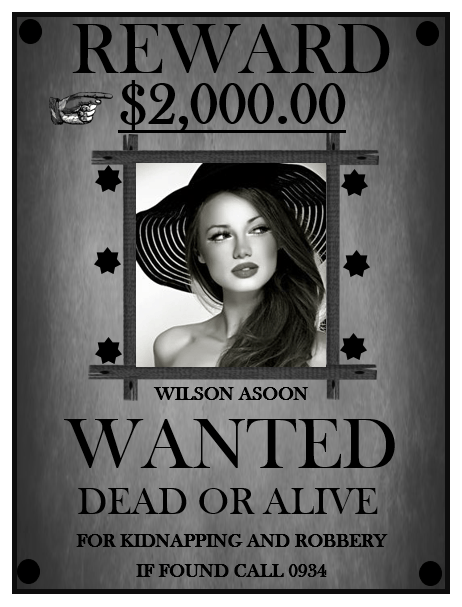 Black & White Wanted Poster Template
