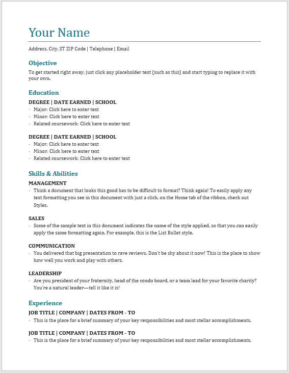 Basic Resume Template 01