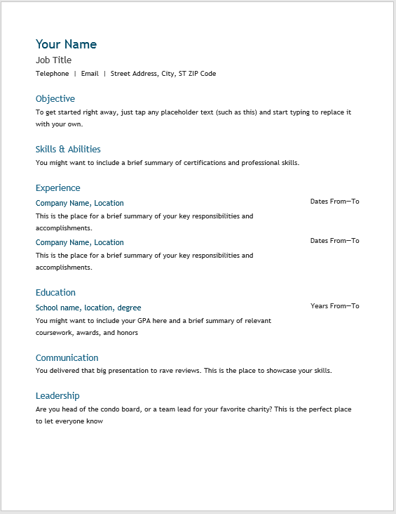 Basic Resume Template 02
