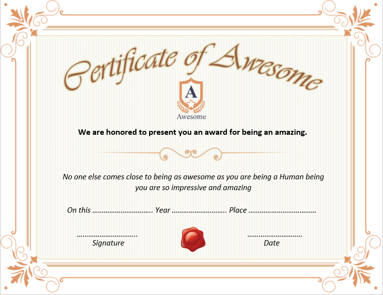 Certificate of Awesomeness Template 01