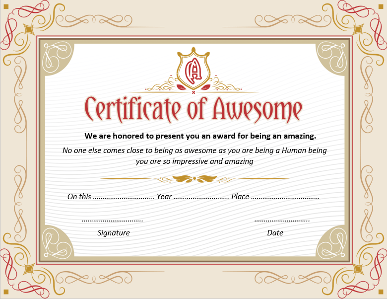 Certificate of Awesome Template 02