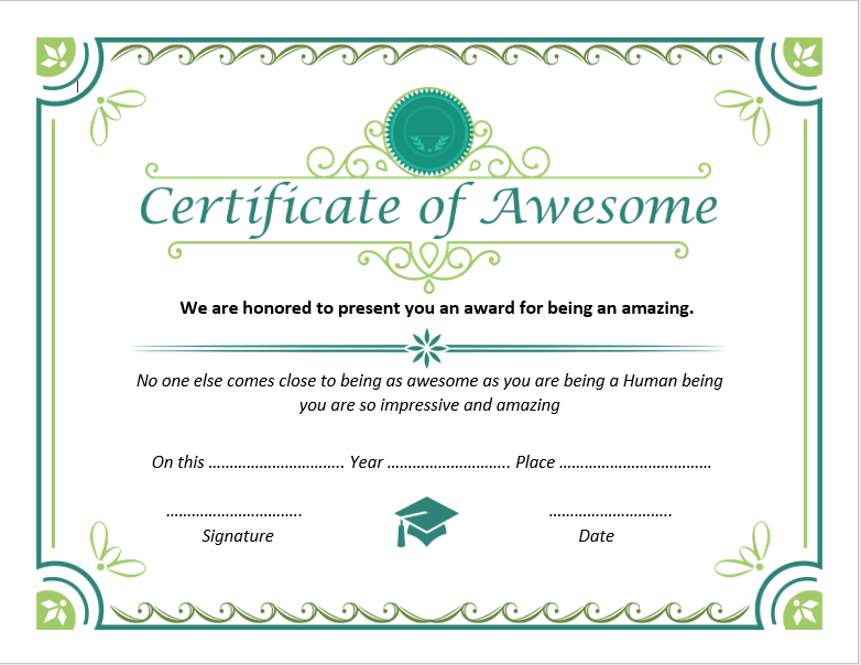 Certificate of Awesomeness Template 03