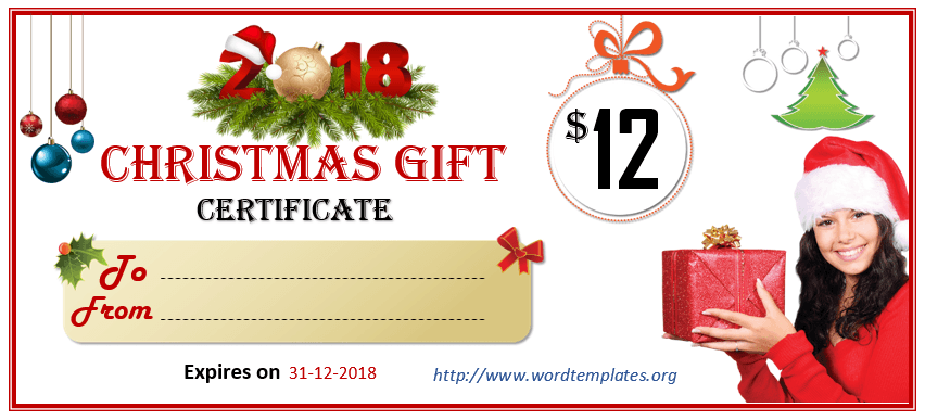 Christmas Gift Certificate Template 2018 - 02