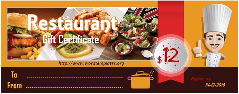 Restaurant Gift Certificate Template 2018 - 10