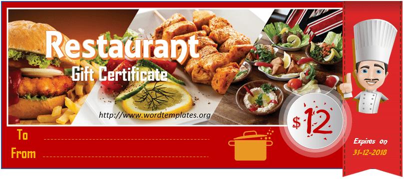 Restaurant Gift Certificate Template 2018 - 11