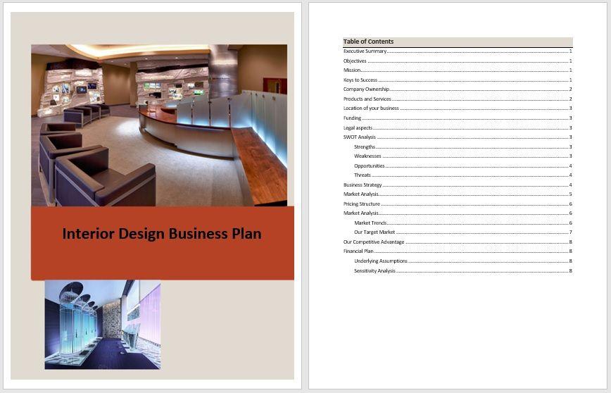 Business plan templates 6 free exclusive templates - Interior design business plan sample ...