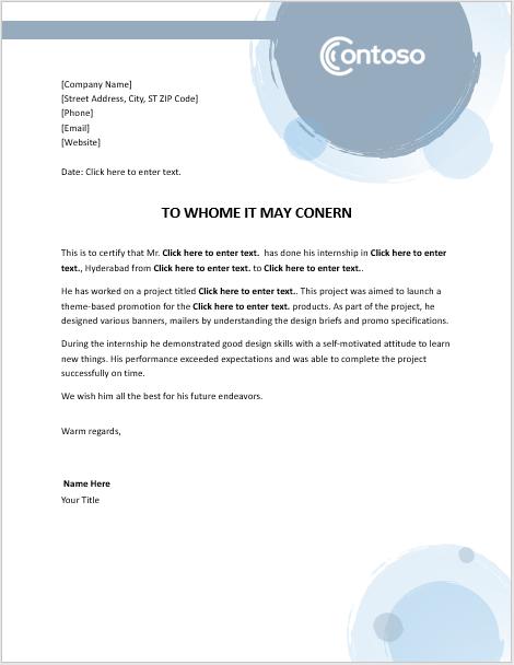 Internship Certificate Template – 6 Free Samples – Word