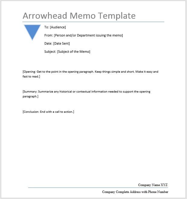 Arrowhead Memo U2013 Word Template  Memo Format Microsoft Word