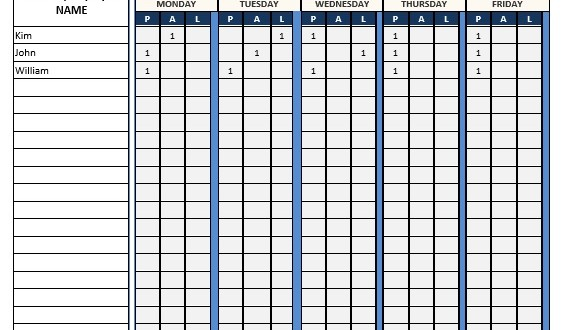 attendance sheet - word template