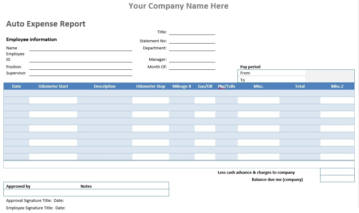 Auto Expense Report Word Template Microsoft Word Templates