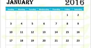 Blue 2016 Calendar Template