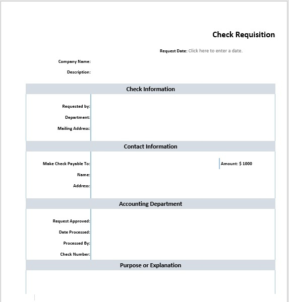 Check Requisition Template