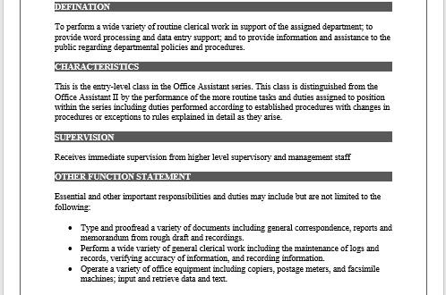 Job description free word template microsoft word for Free job description template