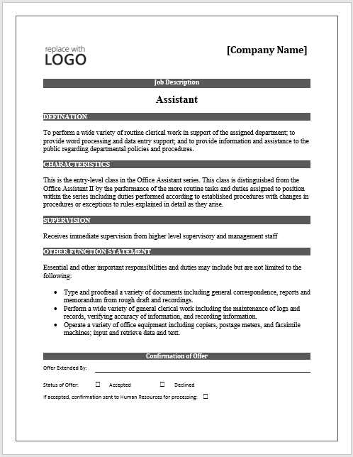 Job description free word template microsoft word for Samples of job descriptions templates