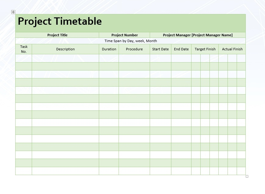 project timetable word template microsoft word templates. Black Bedroom Furniture Sets. Home Design Ideas