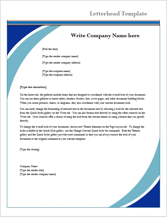 word templates for letterhead