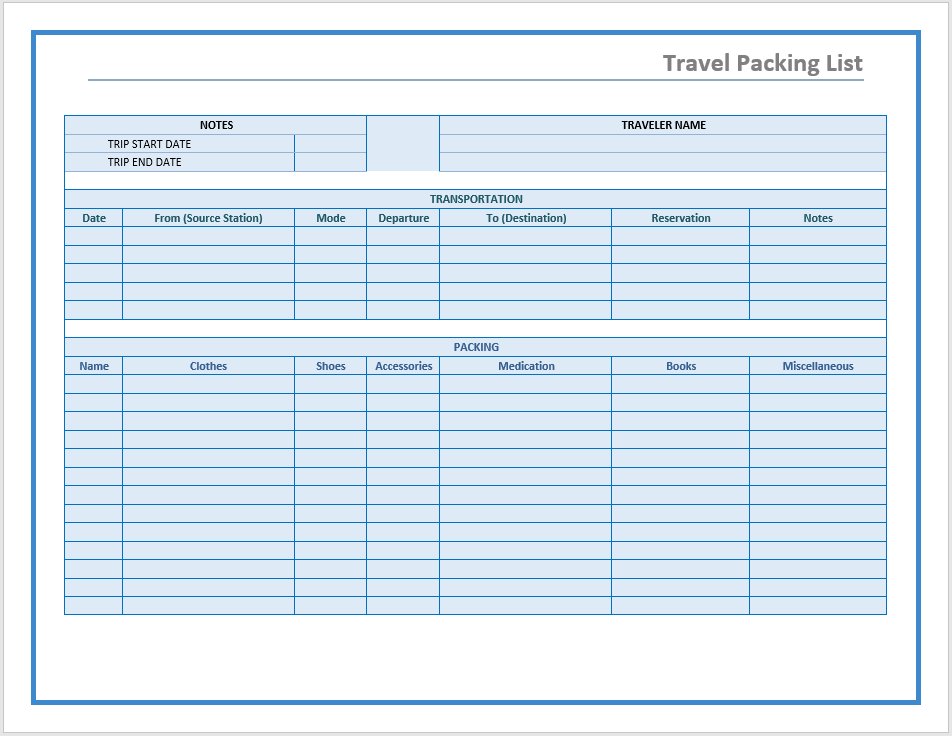 travel packing list template word