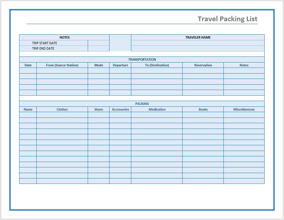 travel packing list template  u2013 microsoft word templates