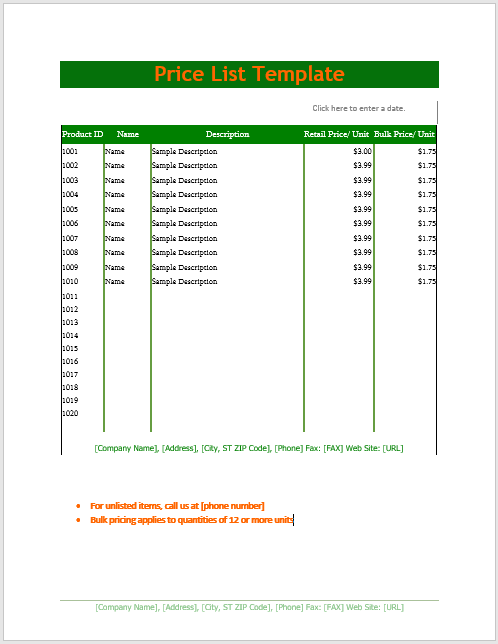 Price List Template  Price List Template Word