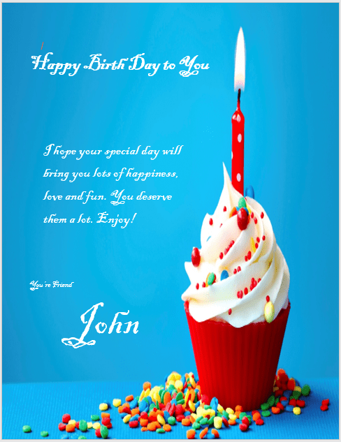 Birthday Wishes Sample Microsoft Word Templates