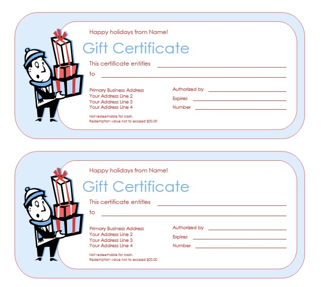 Holidays Gift Certificate Design Microsoft Word Templates