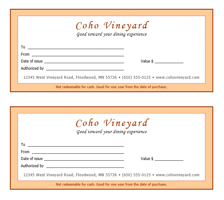 dining gift certificate template - 11 free gift certificate templates microsoft word templates