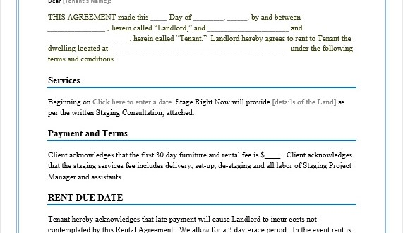 Rental Agreement Template – Microsoft Word Templates