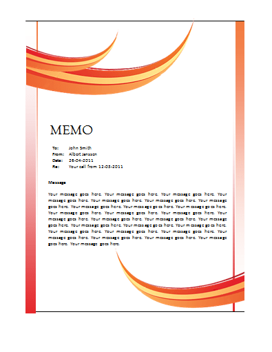 Memo Template. September 4, 2010 Memo Word ...  Free Word Templates 2010
