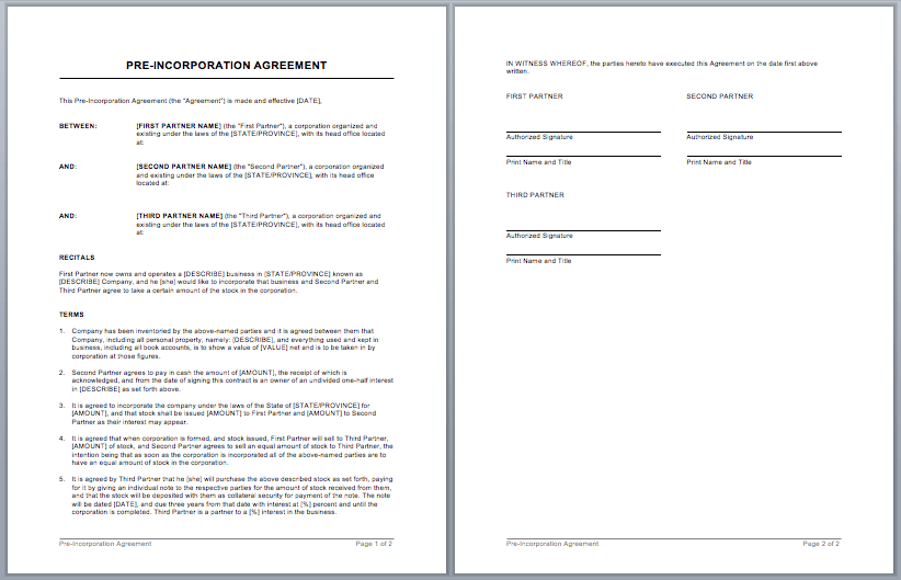 Microsoft Word Templates  Partner Contract Sample