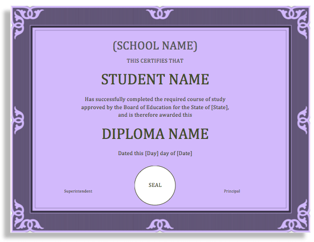Sample certificate microsoft word templates school degree certificate template yelopaper Choice Image