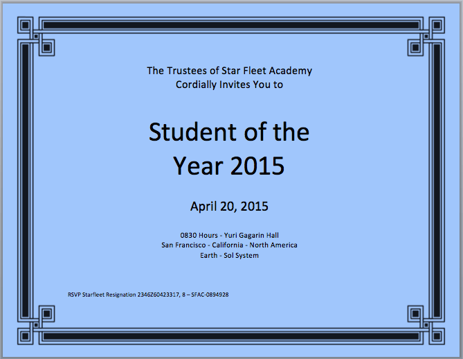 student of the year certificate template