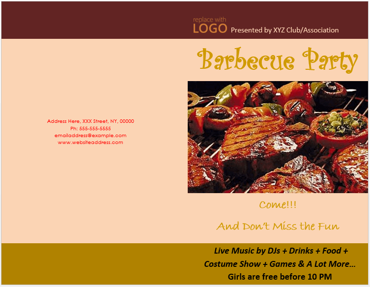Bbq Party Brochure Template Microsoft Word Templates