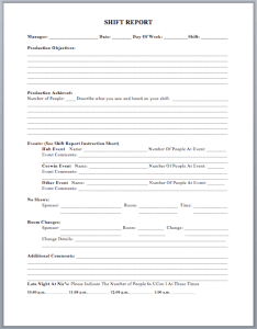 Production Shift Report Template
