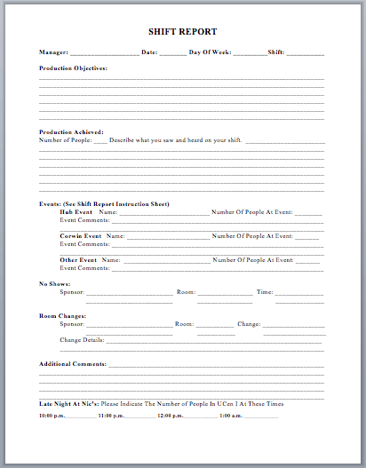Production Shift Report Template Microsoft Word Templates