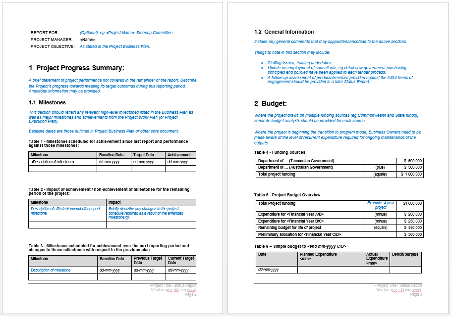 Project Status Report Template  Progress Sheet Template