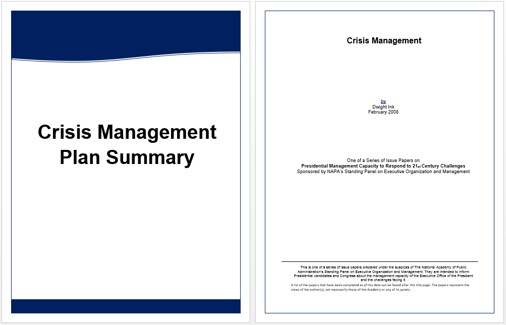 Executive summary template for crisis management for Sample crisis management plan template
