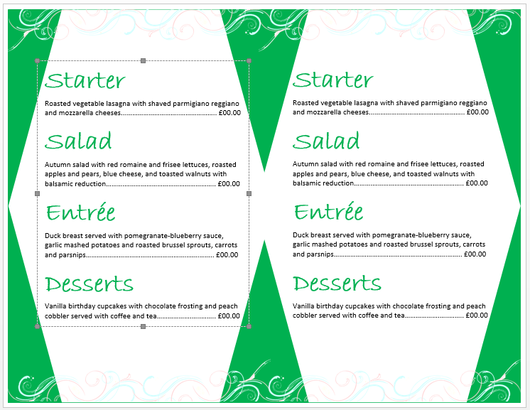 Birthday Menu Template 2