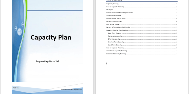capacity plan template  u2013 word templates for free download