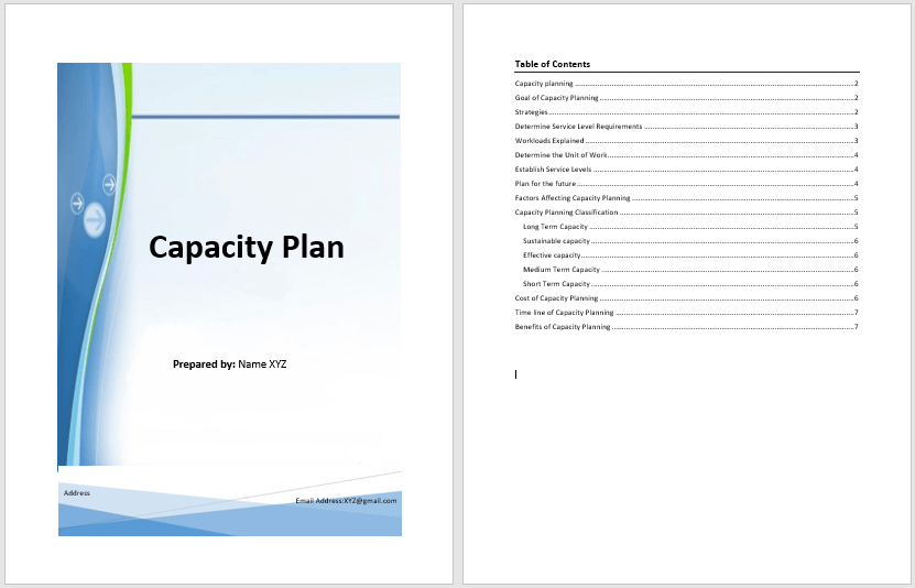 capacity plan template  u2013 microsoft word templates