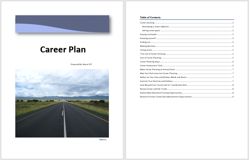 career plan template  u2013 word templates for free download